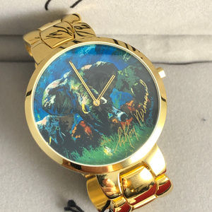 LeRoy Neiman's Elephant Stampede Watch Gold Plated